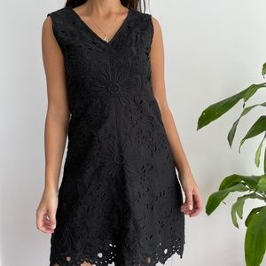 Theory Jemione embroidered black sleeveless dress